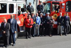 (From left to right, front row) Robert Kagel, Director, Chester County Department of Emergency Services; Chester County Commissioner Terence Farrell; County Commissioner Kathi Cozzone; Jack Law, West Bradford Fire Chief and Chester County Fire Chiefs Association; John Sly, John Sly Grant-writing; John Weer, Chester County Fire Marshal; B.J. Meadowcroft, Union Fire Company of Oxford; County Commissioner Michelle Kichline, Beau Crowding, Deputy Director of Fire Services, Chester County Department of Emergency Services; Congressman Ryan Costello; (from left to right, back row) Mike Holmes, Chief, Lionville Fire Company; Dave Jones, West Whiteland Fire Company; Ron Miller, President, Chester County Fire Police Association; and Steve Nuse, Chief, Po-Mar-Lin Fire Company.